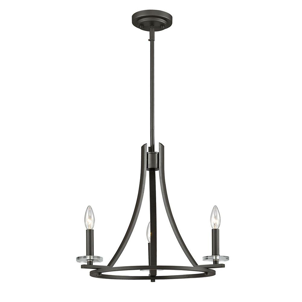 Filament Design 3-Light Bronze Chandelier - 20 inch