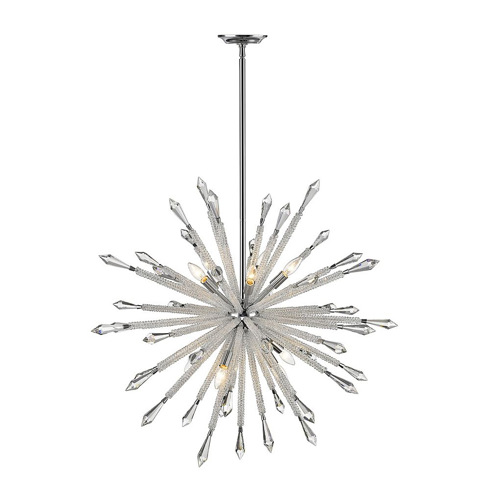 Filament Design 10-Light Chrome Chandelier with Clear Crystal Accents - 36.875 inch