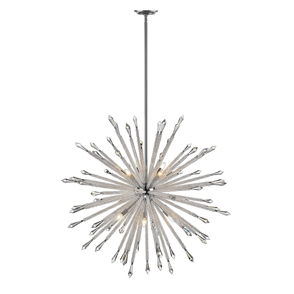Filament Design 12-Light Chrome Chandelier with Clear Crystal Accents - 47.125 inch