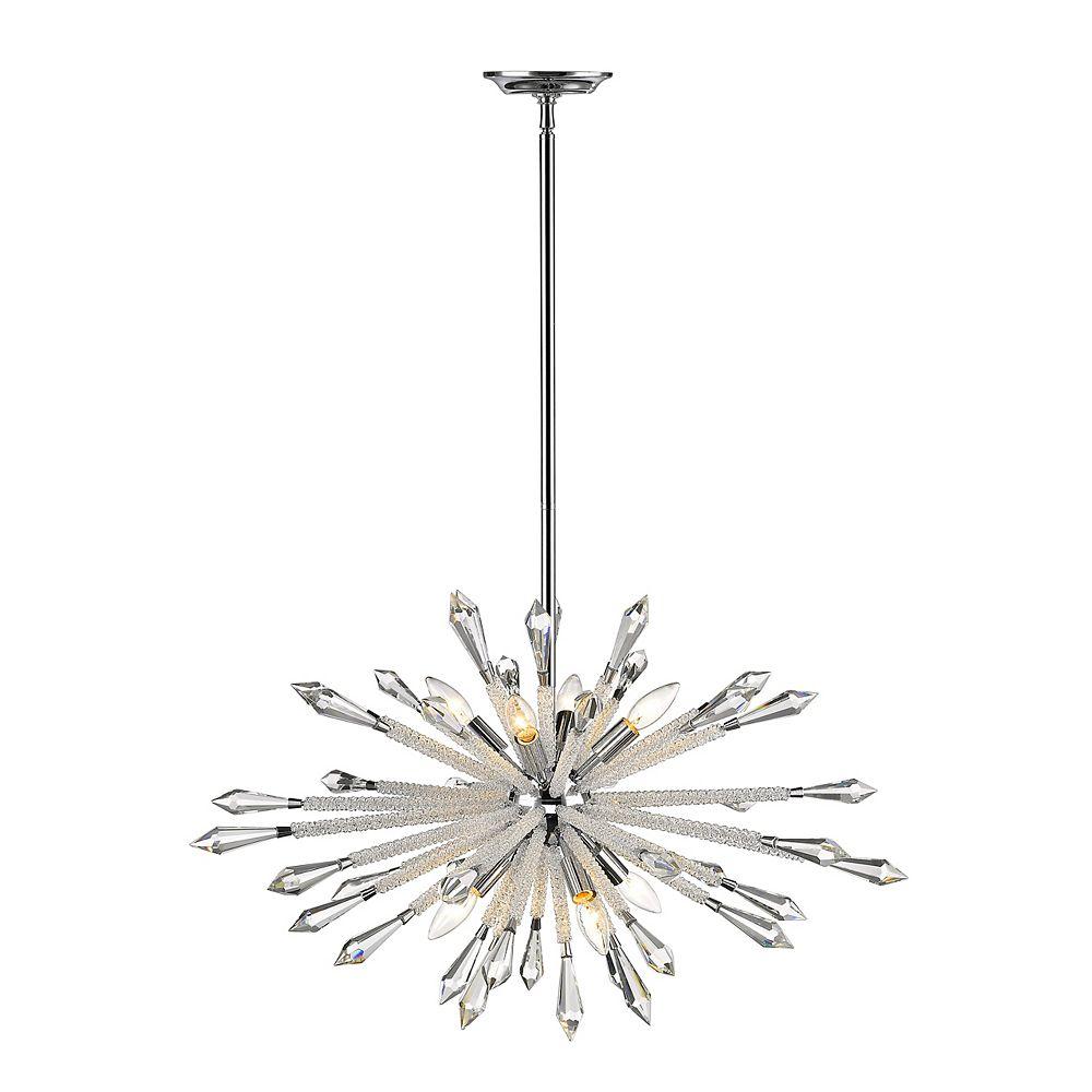 Filament Design Lustre en chrome à 8 ampoules avec accents de cristal clair