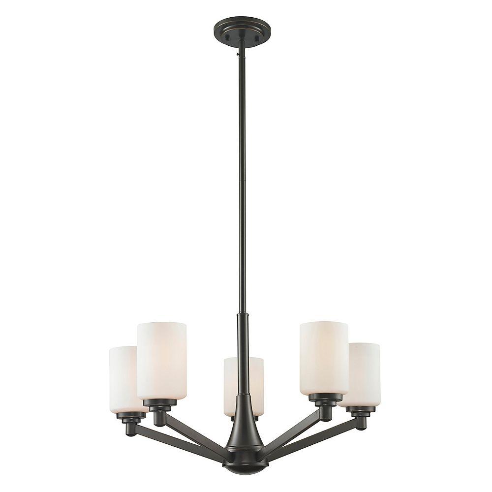 Filament Design Lustre à 5 ampoules bronze bronze cuivré avec verre opale mat - 25,625 pouces