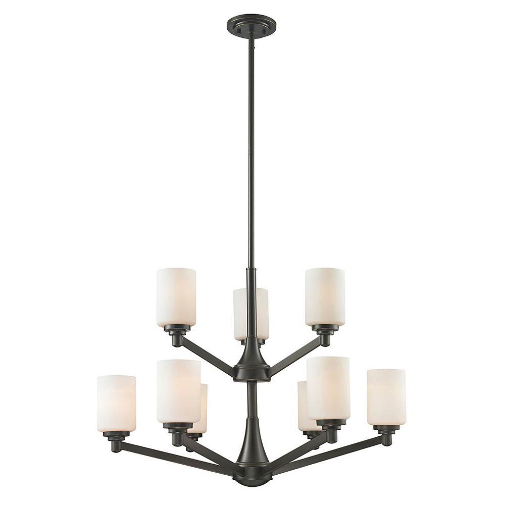 Filament Design Lustre à 9 ampoules bronze bronze cuivré et verre opale mat