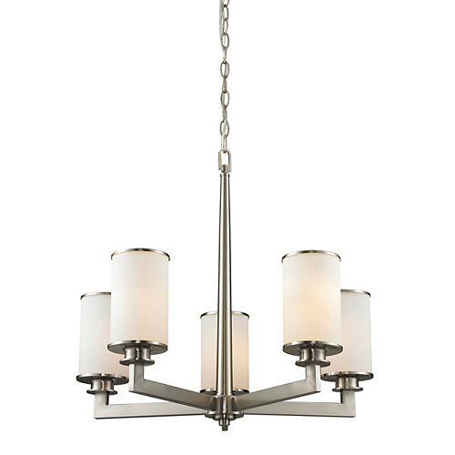 Filament Design 5-Light Brushed Nickel Chandelier with Matte Opal Glass - 23.875 inch