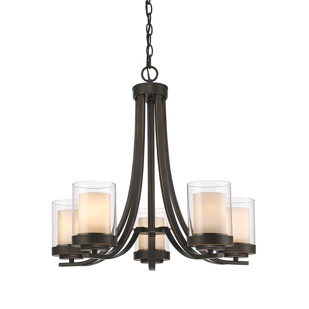 Filament Design Lustre bronze à 5 ampoules avec verre opalin transparent et mat