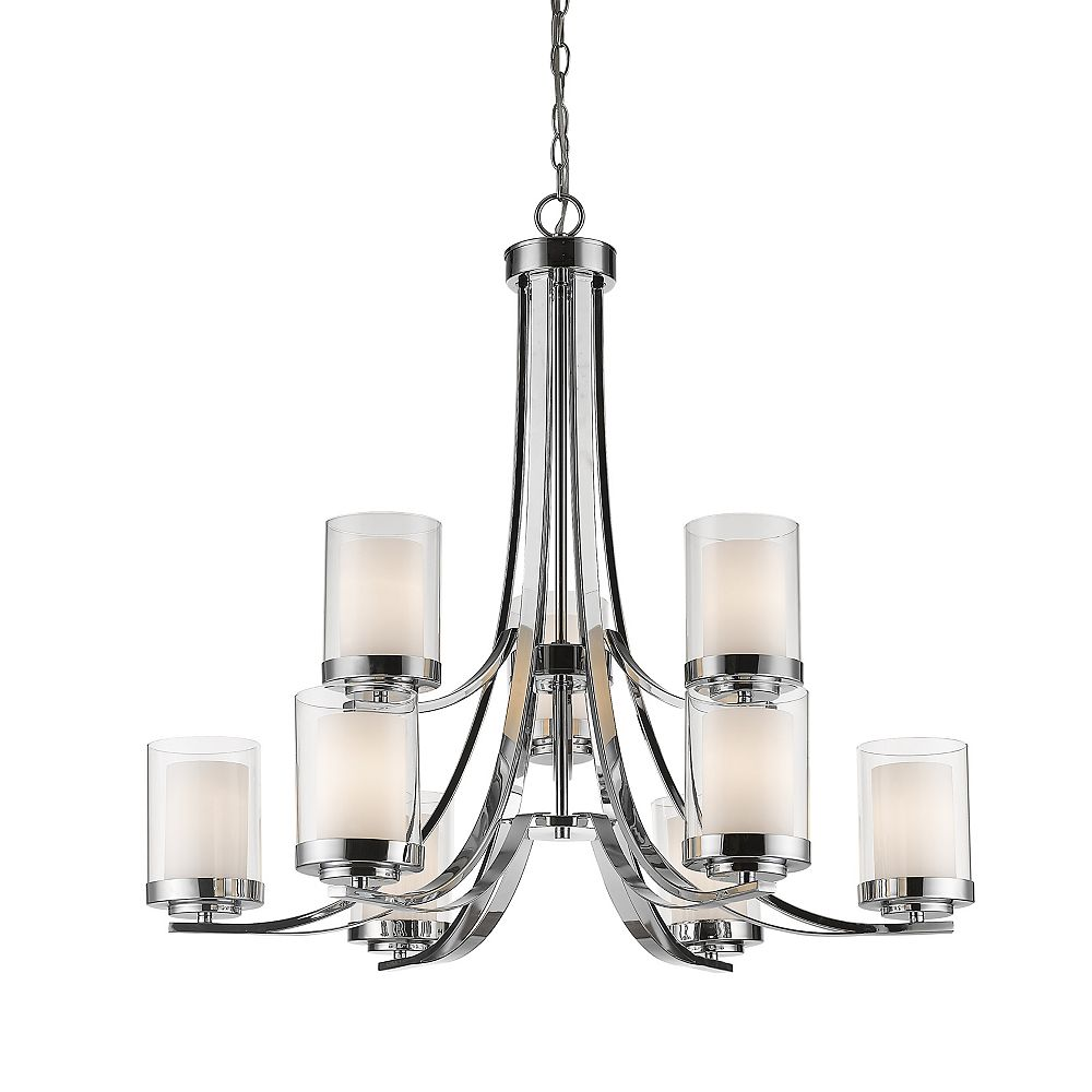 Filament Design 9-Light Chrome Chandelier with Clear and Matte Opal Glass - 31.25 inch