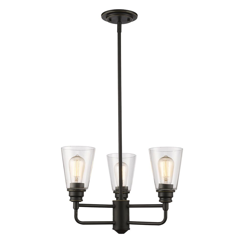 Filament Design 3-Light Olde Bronze Chandelier with Clear Glass - 19 inch