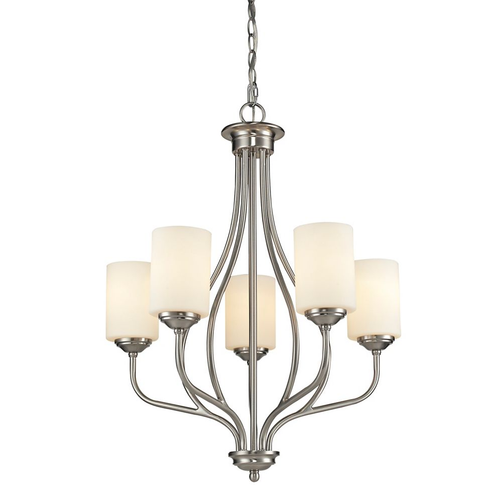Filament Design Lustre à 5 ampoules Nickel Brossé et Verre Opale Mat - 23 pouces