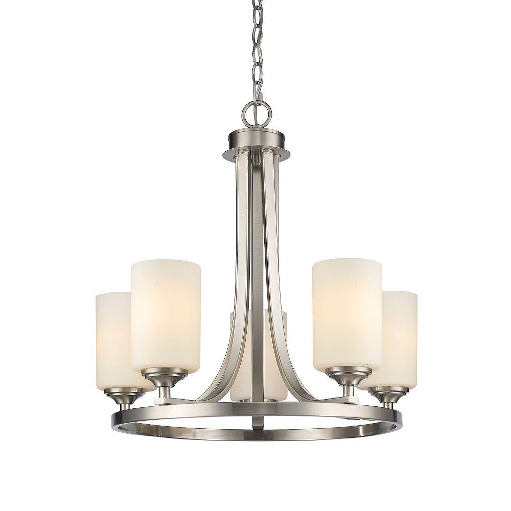 Filament Design Lustre à 5 ampoules Nickel Brossé et Verre Opale - 21,5 pouces