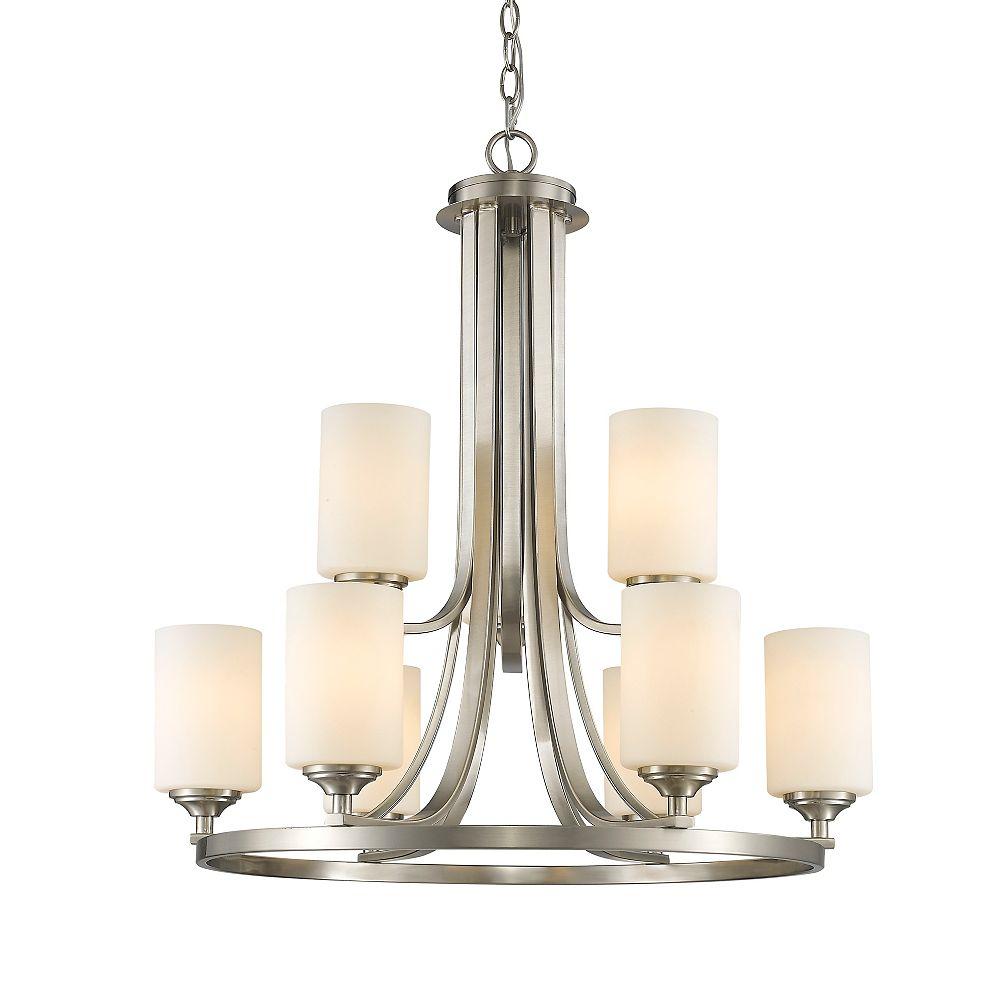 Filament Design Lustre à 9 ampoules Nickel Brossé et Verre Opale Mate