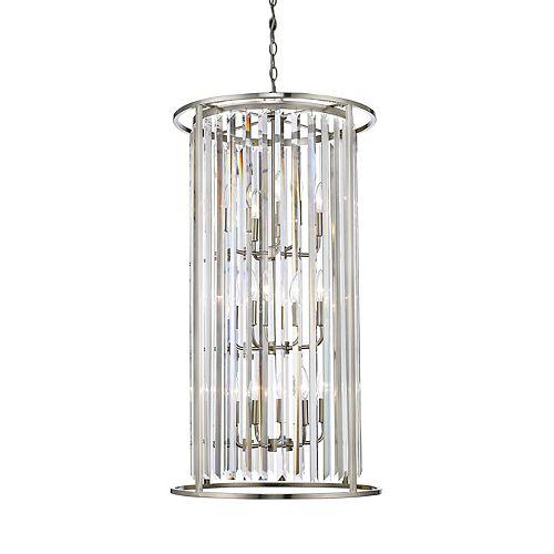 Lustre à 12 ampoules Nickel Brossé avec Accents de Cristal Clair - 20 pouces