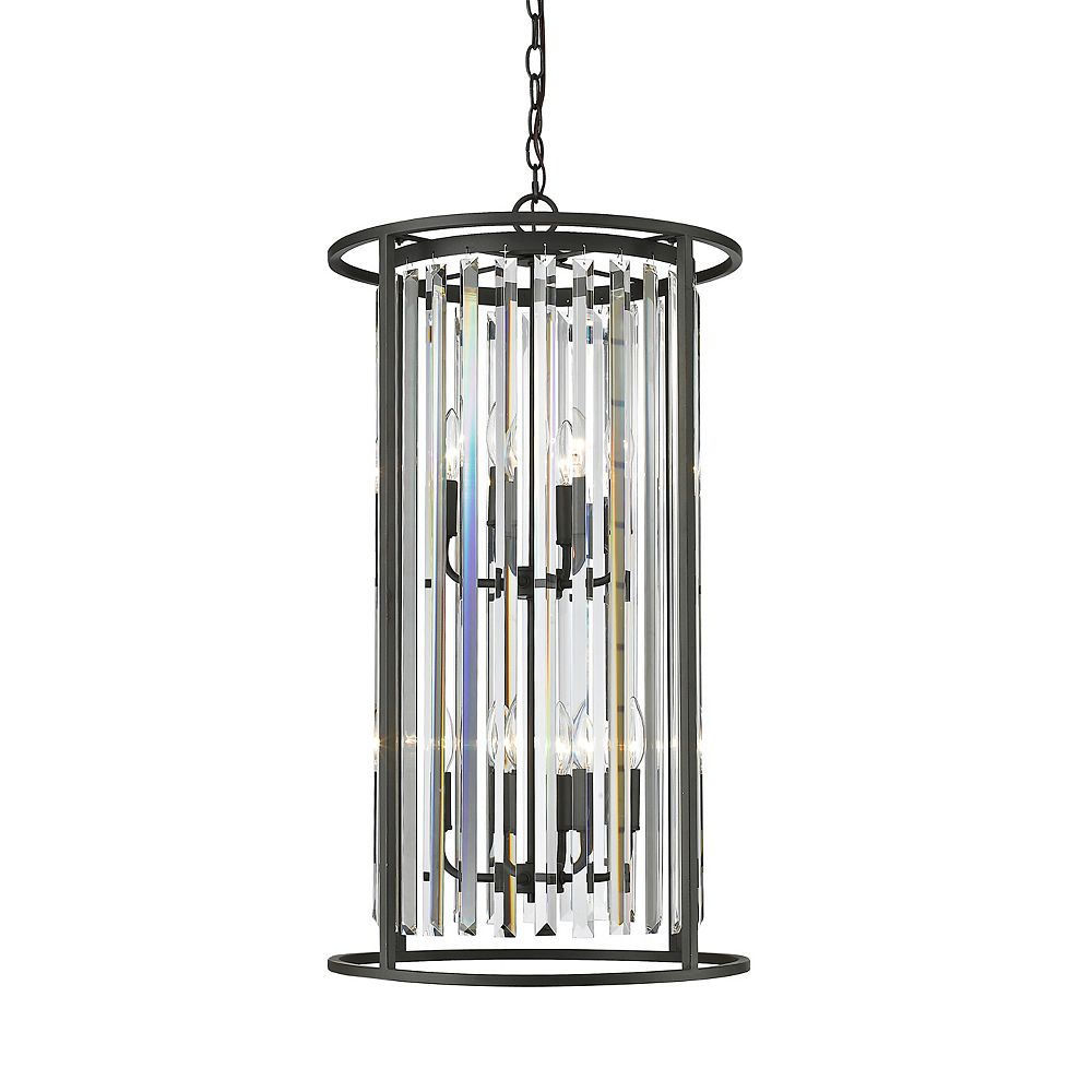 Filament Design 8-Light Bronze Chandelier with Clear Crystal Accents - 17 inch