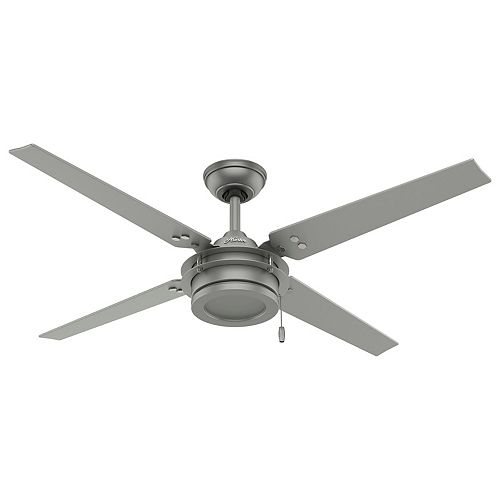 Gunnar 54-inch Outdoor/Indoor Matte Silver Ceiling Fan