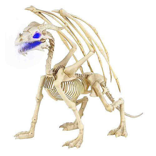 3.5 ft. Animated LED-Lit Skeleton Dragon Halloween Decoration