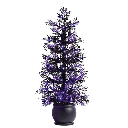4 ft. Pre-Lit Black Flocked Halloween Potted Tree, 150 Purple Microdot Led Lights