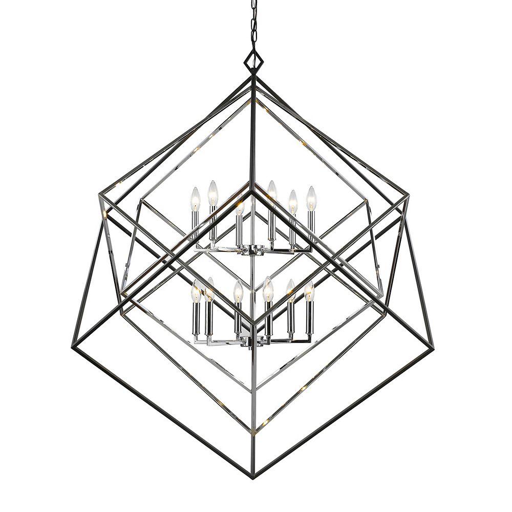 Filament Design Lustre chrome et noir mat à 12 ampoules - 47,5 pouces