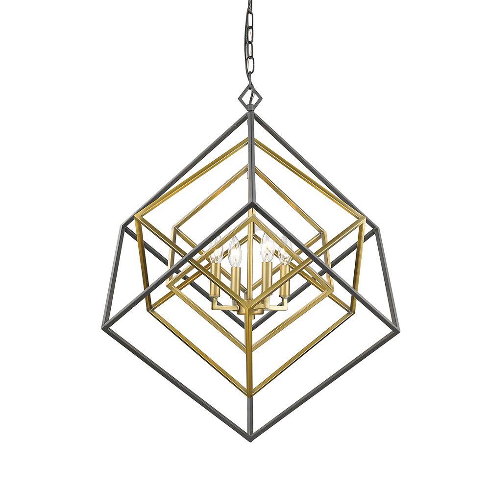 Filament Design Lustre à 4 ampoules, laiton et bronze - 29,5 po