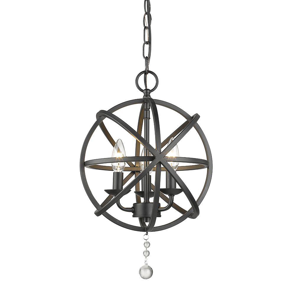 Filament Design Lustre noir mat à 3 ampoules, 12 po