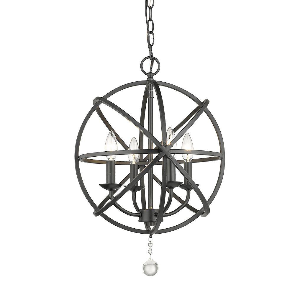 Filament Design 4-Light Matte Black Chandelier - 16 inch
