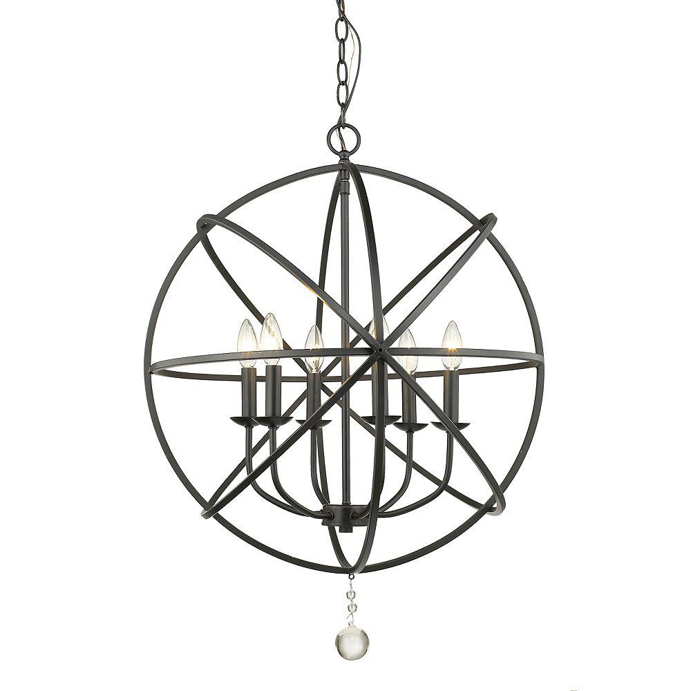 Filament Design 6-Light Matte Black Chandelier - 24 inch