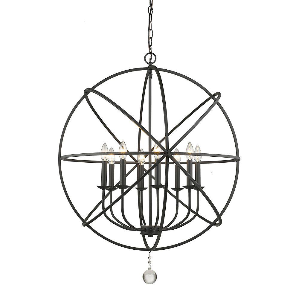 Filament Design 8-Light Matte Black Chandelier - 30 inch