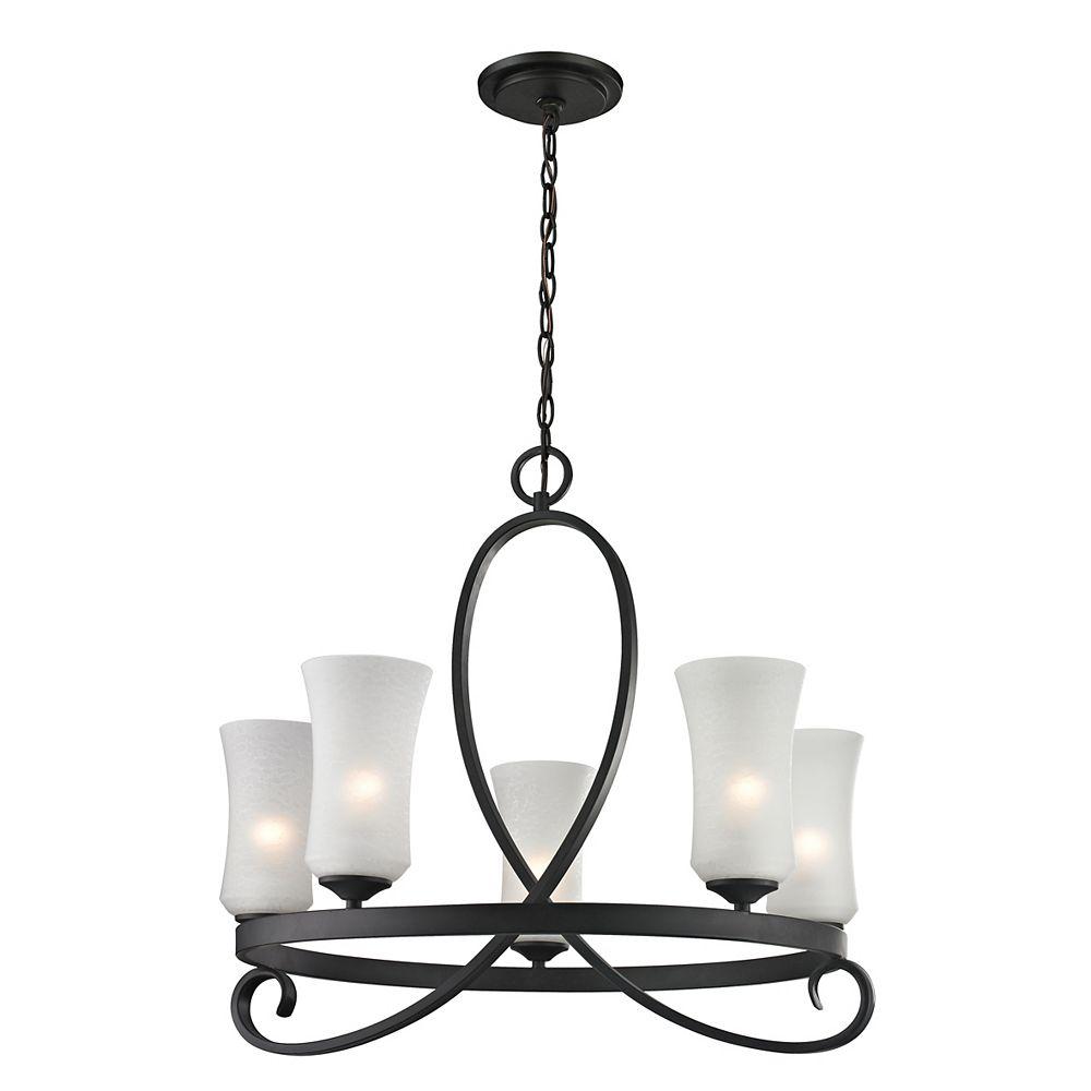 Filament Design 5-Light Bronze Chandelier with Matte Opal Glass Shades