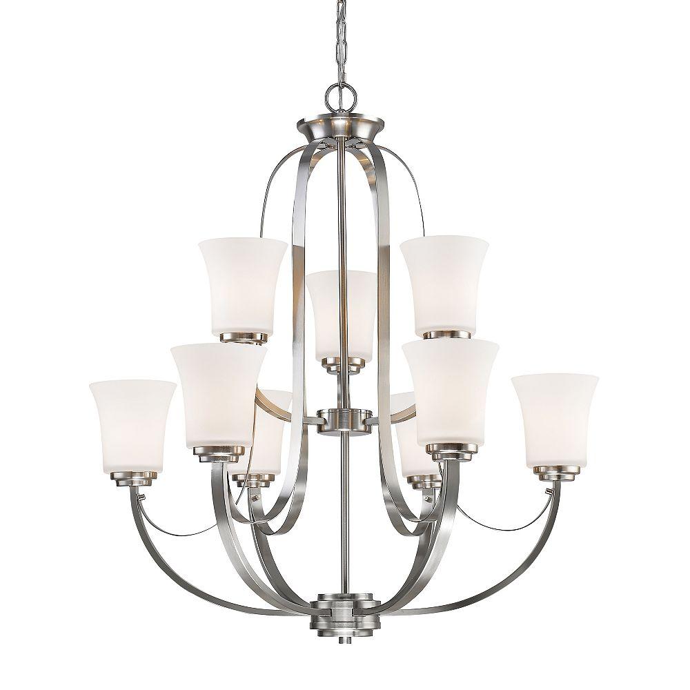 Filament Design Lustre à 9 ampoules Nickel Brossé et Verre Opale Mat - 29 pouces