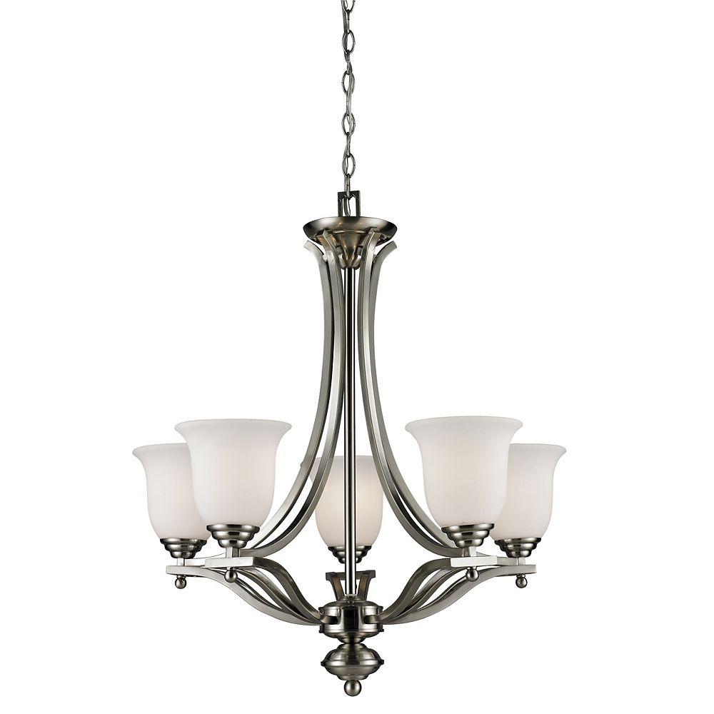 Filament Design Lustre à 5 ampoules Nickel Brossé et Verre Opale Mat - 26,5 pouces
