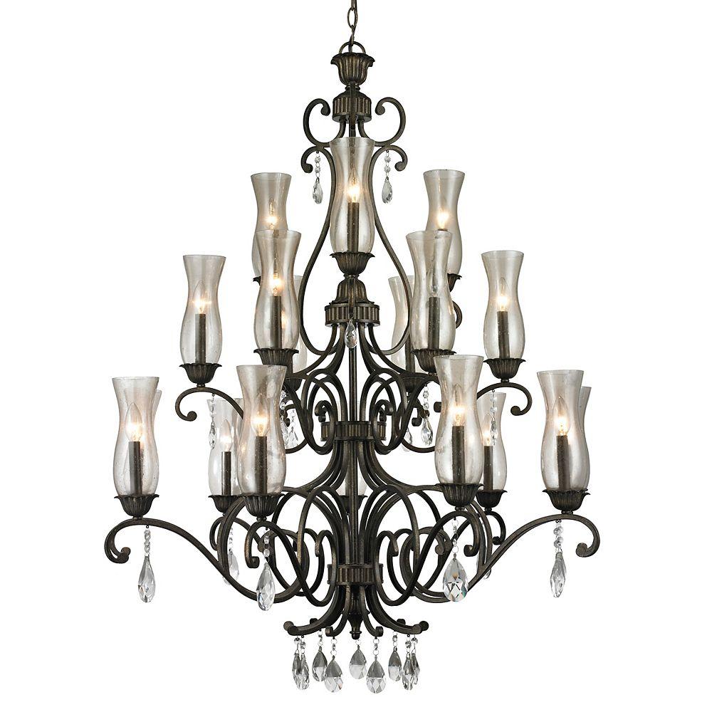 Filament Design Lustre à 18 ampoules et bronze doré avec verre renfermé de cognac