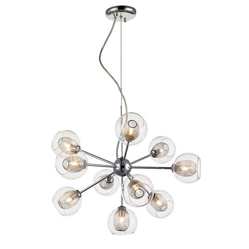 10-Light Chrome Chandelier with Clear and Mesh Glass and Steel Shade - 22.5 inch