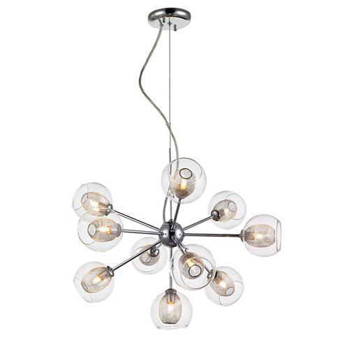 Lustre en chrome à 10 ampoules avec abat-jour en acier et verre transparent et filet