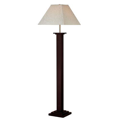 Lampadaire 1 lumière en acajou avec abat-jour en lin lin - dimmable