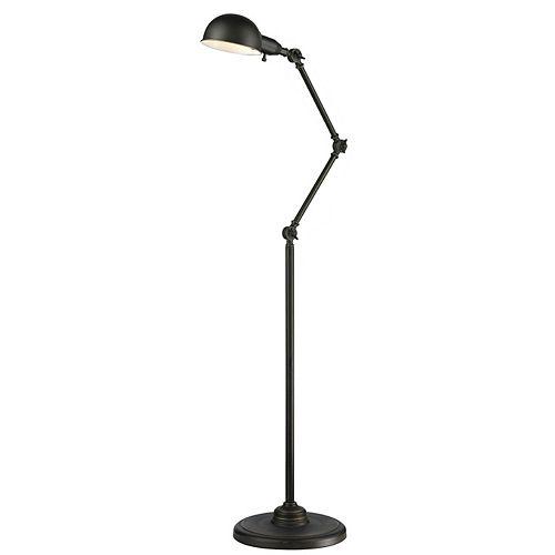 Lampadaire à 1 lumière, bronze ancien et abat-jour en acier bronze - 11,4 pouces