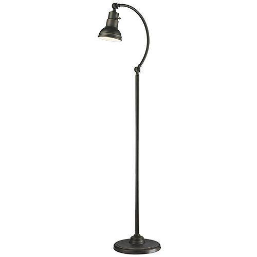 Lampadaire à 1 lumière, bronze ancien et abat-jour en acier bronze ancien
