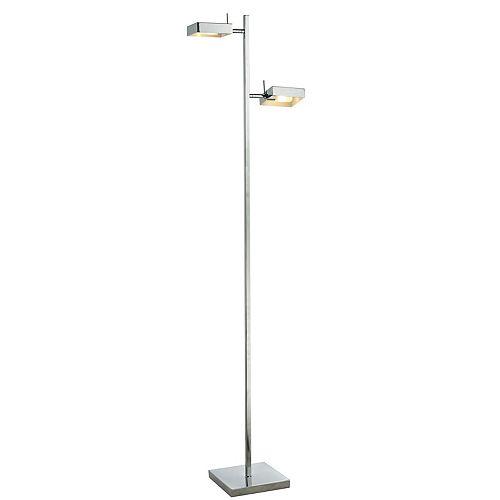 Lampadaire à 2 ampoules en chrome avec abat-jour en acier chromé - 13,5 pouces