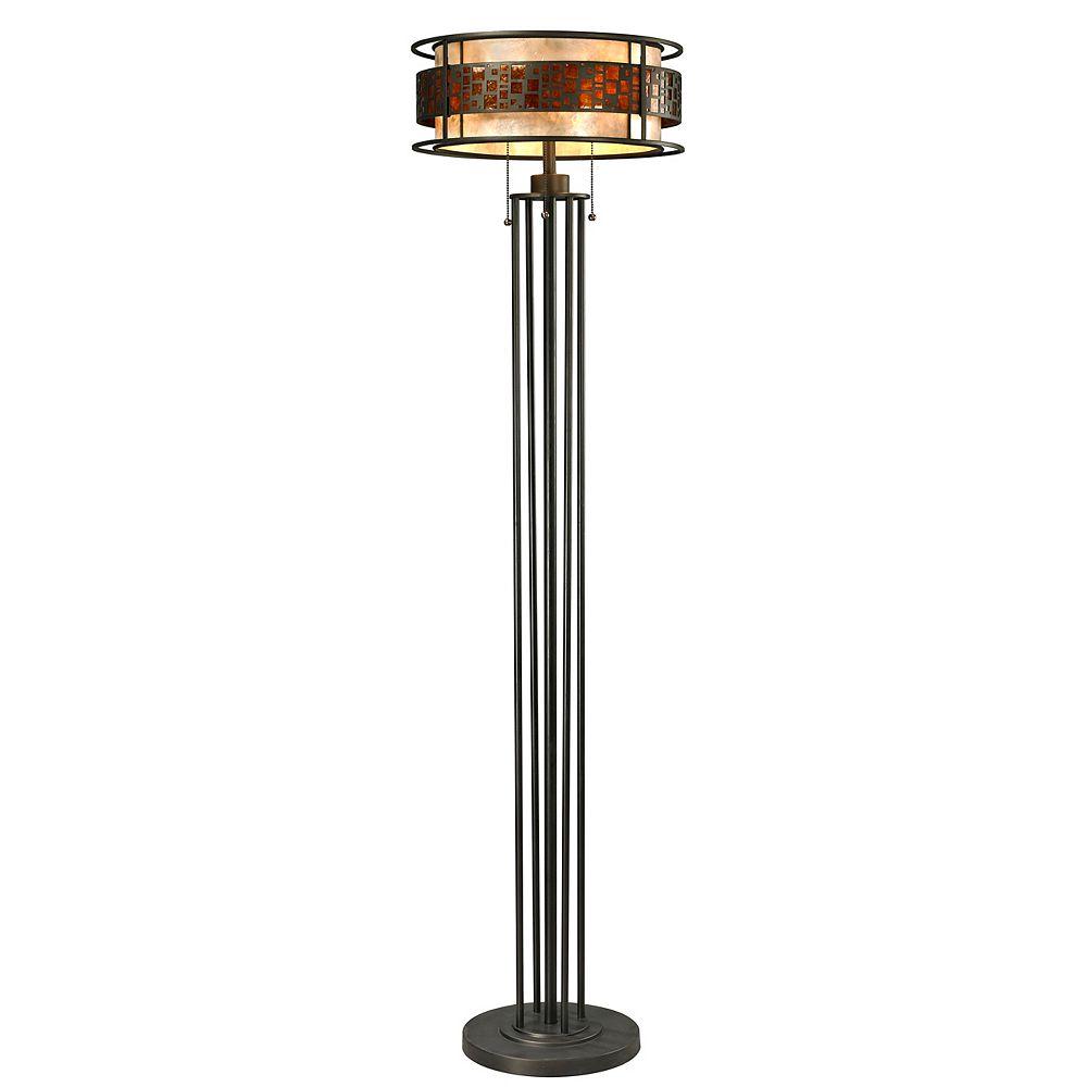 Filament Design Lampadaire Java à 3 ampoules avec abat-jour en mica ambre et abat-jour en mica blanc - 16 pouces