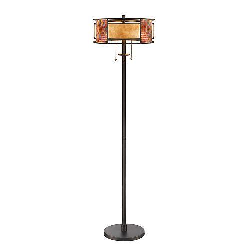 Lampadaire à 3 ampoules Bronze avec abat-jour en mica blanc et verre carrelé - 16 pouces