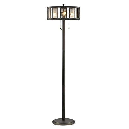 Filament Design 3-Light Bronze Floor Lamp with Silver Mercury and Clear Seedy Glass and Steel Shade - 16 inch