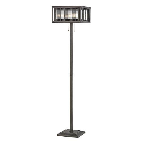 Lampadaire à 3 ampoules Bronze avec abat-jour en acier et verre reeded et bronze, 14 pouces