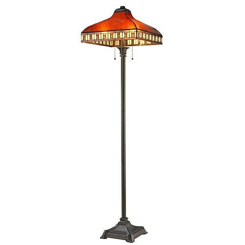 Lampadaire Java à 3 ampoules au fini bronze avec abat-jour en mica ambré et verre, 17 pouces