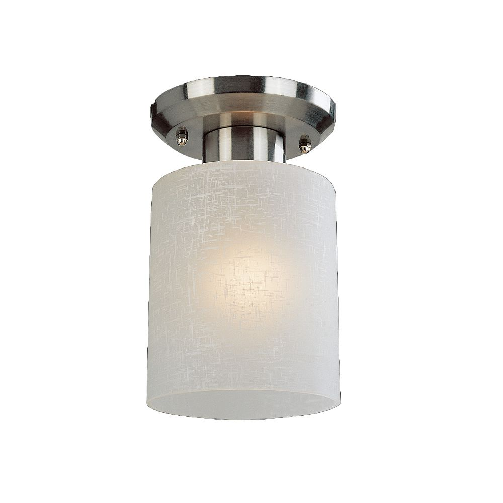 Filament Design 1-Light Brushed Nickel Flush Mount with White Linen Glass - 5 inch