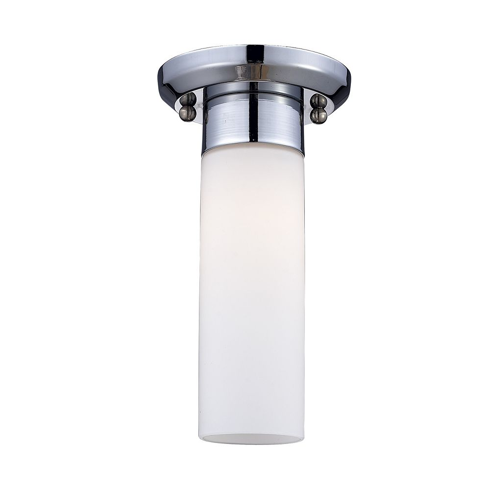 Filament Design 1-Light Chrome Flush Mount with Matte Opal Glass - 5.25 inch