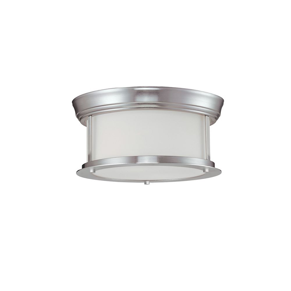 Filament Design 2-Light Brushed Nickel Flush Mount with Matte Opal Glass - 10.75 inch