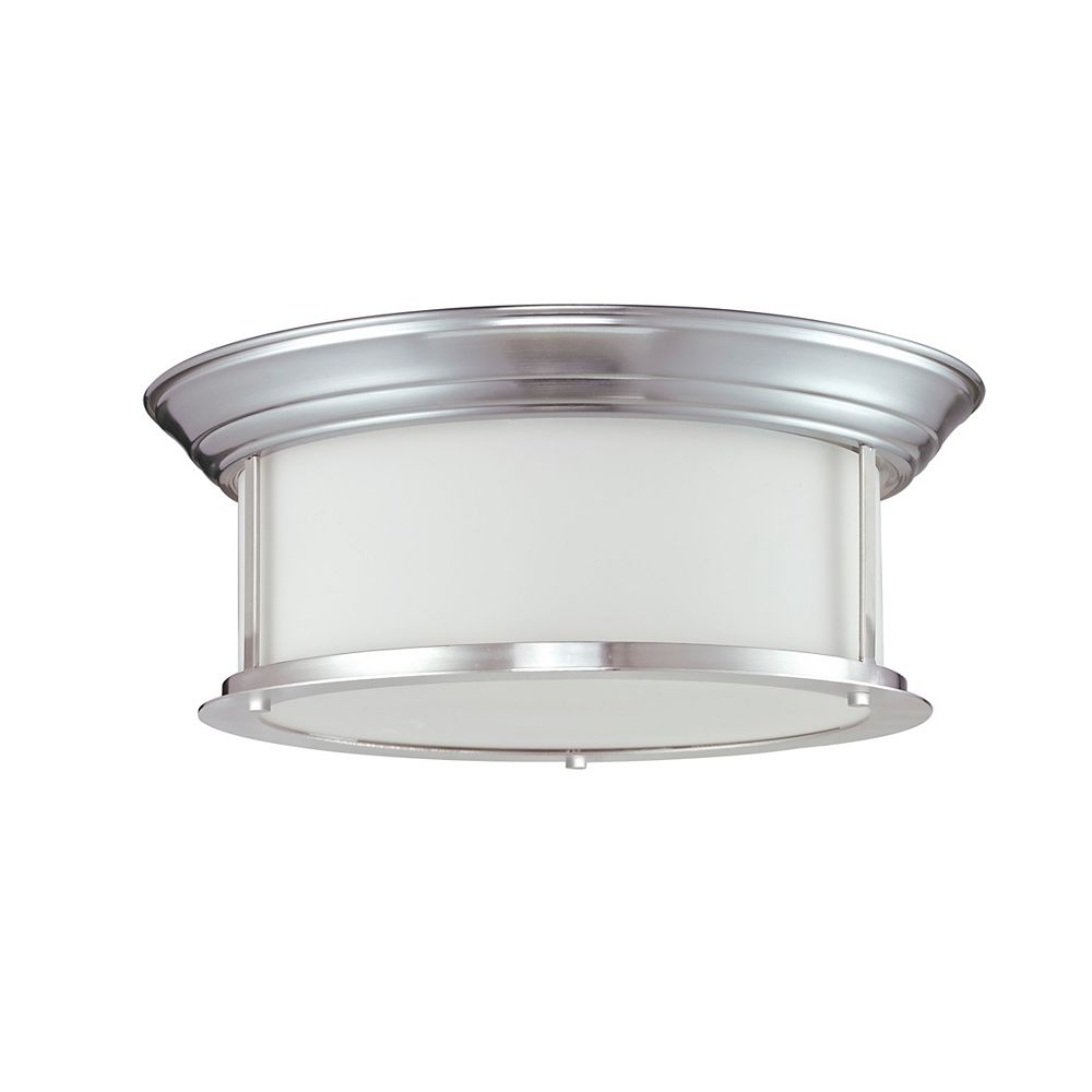 Filament Design 3-Light Brushed Nickel Flush Mount with Matte Opal Glass - 15.5 inch