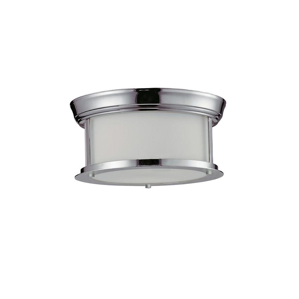 Filament Design Plafonnier à 2 ampoules au fini chrome avec verre opale mat - 10,75 pouces