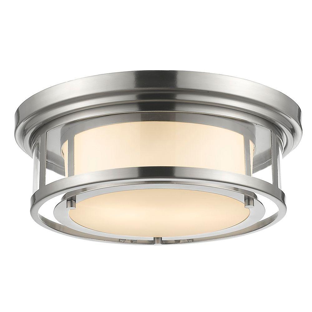 Filament Design 2-Light Brushed Nickel Flush Mount with Matte Opal Glass - 15.5 inch