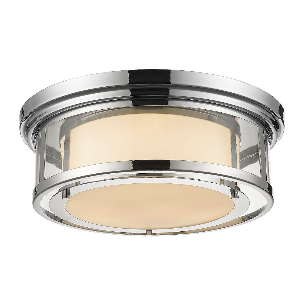 Filament Design Plafonnier chrome à 3 ampoules avec verre opale mat - 18,25 po