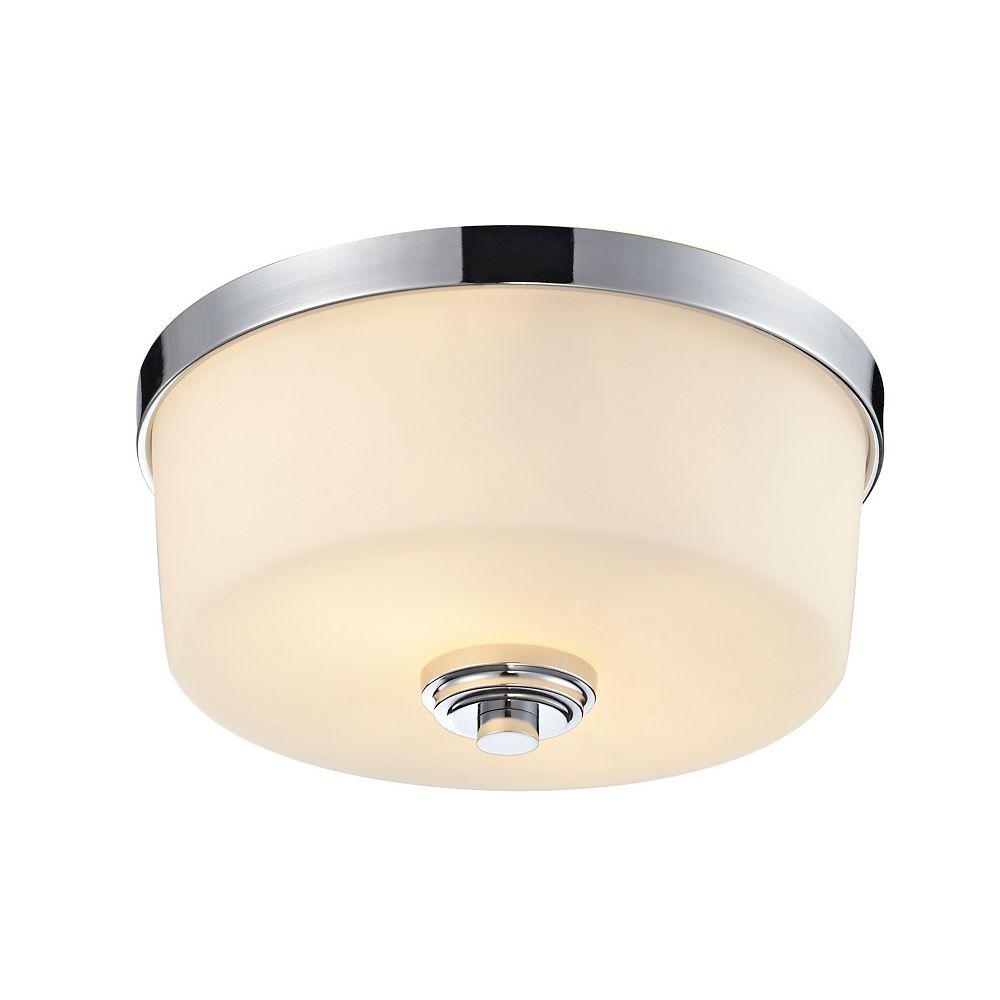 Filament Design Plafonnier à 2 ampoules au fini chrome avec verre opale mat - 12,125 pouces