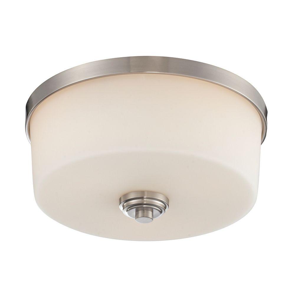 Filament Design 3-Light Brushed Nickel Flush Mount with Matte Opal Glass - 13.875 inch