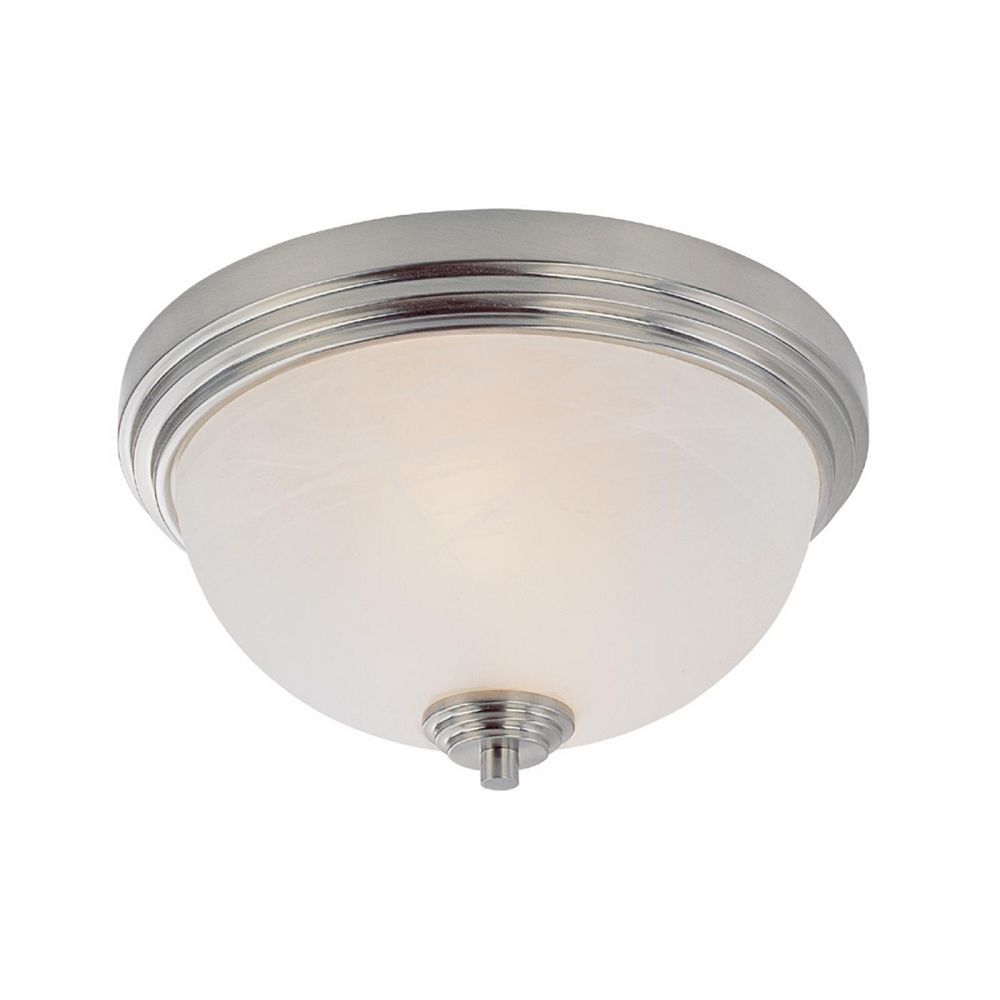 Filament Design 2-Light Brushed Nickel Flush Mount with White Swirl Glass - 12 inch