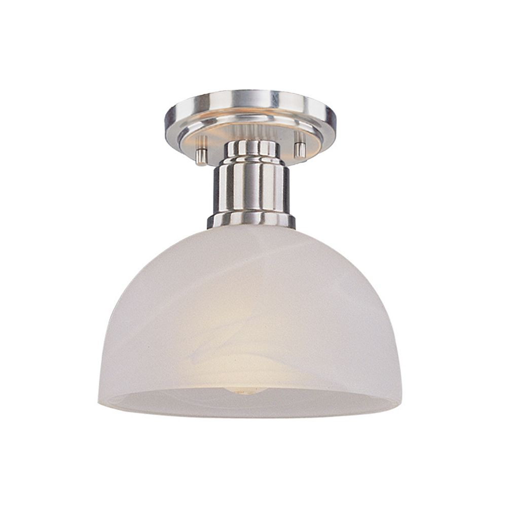 Filament Design 1-Light Brushed Nickel Flush Mount with White Swirl Glass - 8 inch